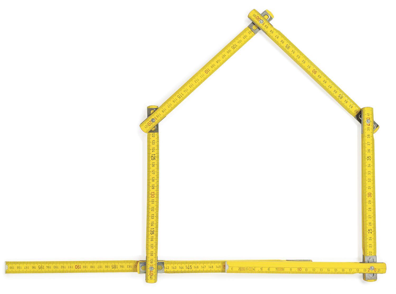 Gliedermaßstab in Form eines Hauses; Thema: Projektentwicklung